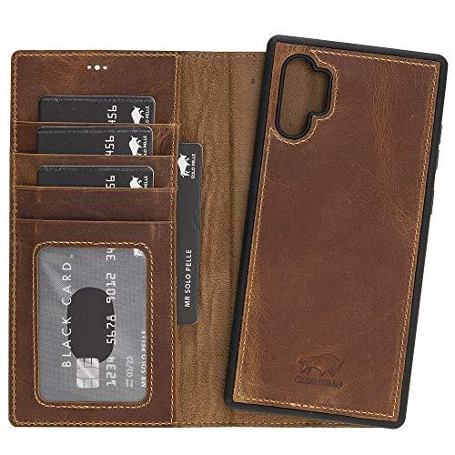Solo Pelle Lederhülle Harvard kompatibel für das Samsung Galaxy Note 10 Plus/Note 10+ 5G inklusive abnehmbare Hülle mit integrierten Kartenfächern (Camel Braun)