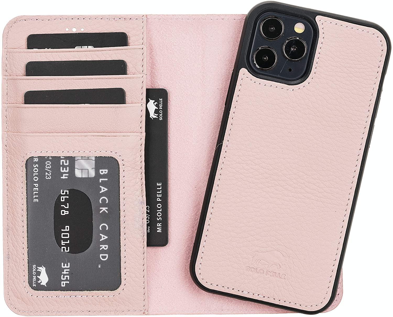 "iPhone 12 & 12 Pro abnehmbare Lederhülle ""Harvard"" MagSafe kompatibel (Nude Rosa)"