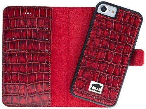 "iPhone 8/7 Hülle - Abnehmbar ""Harvard"" - Kroko-Rot aus Leder"