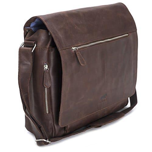 Solo Pelle Business Messenger Tasche / Umhängetasche College Tasche aus echtem Leder Model: Hero (Dunkelbraun)