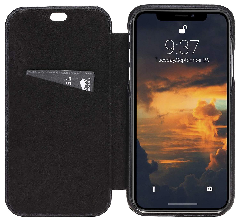 Solo Pelle Lederhülle passend zu iPhone XR 6.1 Zoll abnehmbare Hülle inkl. Kartenfächer für das original Apple iPhone XR (F360 Elite Schwarz)