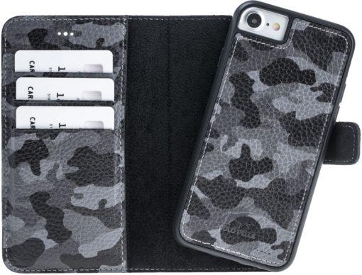 "iPhone 8/7 Hülle - Abnehmbare ""Harvard"" - Camouflage Grau aus Leder"