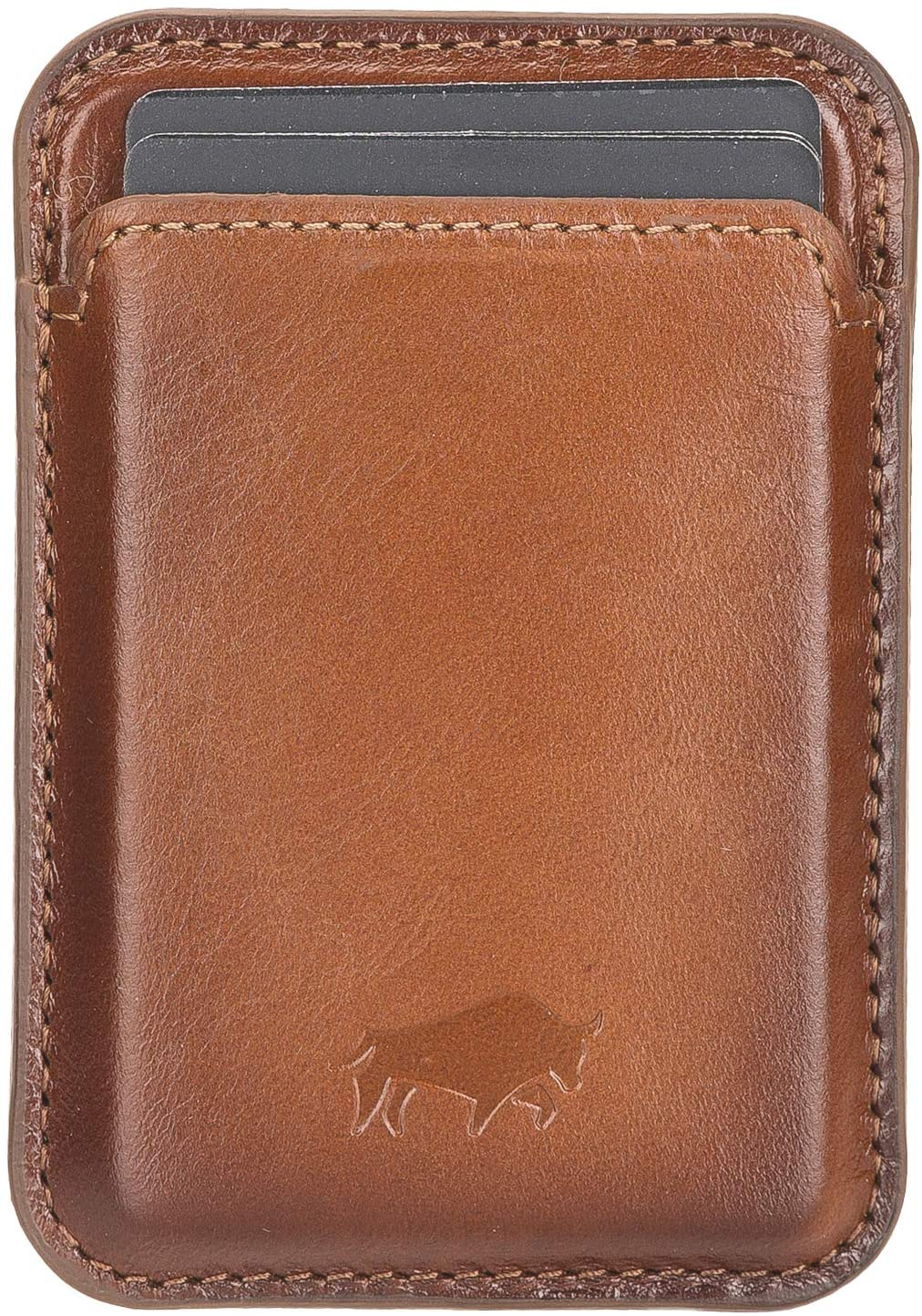 Magnetische Geldbörse (Magsafe) Für verschiedene Lederhüllen von Solo Pelle kompatibel kompatibe  (Cognac Braun)