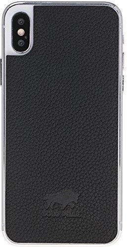 iPhone x abnehmbarer Lederrücken zum Schutz Backcover aus echtem Leder in Matt Schwarz