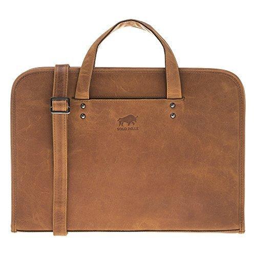 "Businesstasche ""Pergamon"" in genarbtem Leder in Camel Braun"