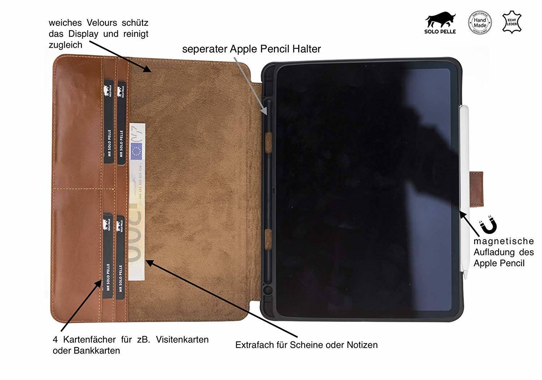 """Solo Pelle Lederhülle Miami geeignet für Apple iPad Pro 11"""" 2018 Hülle Leder Case in Vintage Braun aus echtem Leder. Unterstützt Pencil 2 und magnetisches Laden"""
