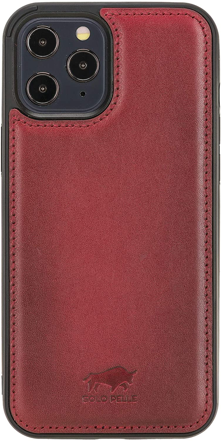 "iPhone 12 | 12 Pro Leder Case ""Stanford"" MagSafe kompatibel (Rot Effekt)"