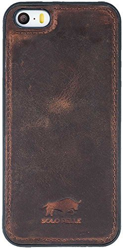 """iPhone SE / 5 / 5S - """"STANFORD"""" Leder Hülle Tasche Lederhülle Ledertasche Backcover - Vintage Braun aus Leder"""
