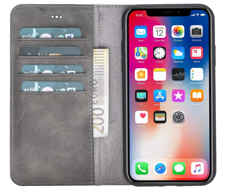 "iPhone XR 6.1 Zoll Abnehmbare Lederhülle ""Harvard"" in Steingrau"