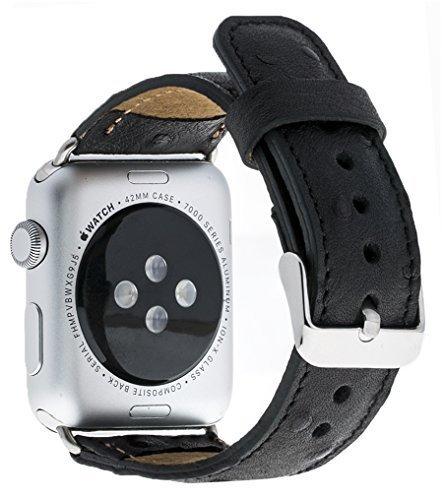 Apple Watch Lederarmband in 38mm / 40 mm Strauss Prägung in Schwarz / Silber Connector
