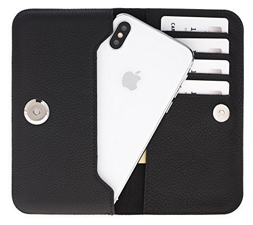 Universal Lederhülle passend für das iPhone x/xs und Geräte ähnlicher Grösse aus echtem Leder in Matt Schwarz