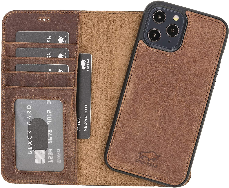 "iPhone 12 Pro Max abnehmbare Lederhülle ""Harvard"" MagSafe kompatibel (Vintage Braun)"