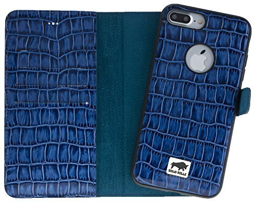 iphone 8 plus 7 plus h lle abnehmbar 2in1 kroko blau aus leder. Black Bedroom Furniture Sets. Home Design Ideas