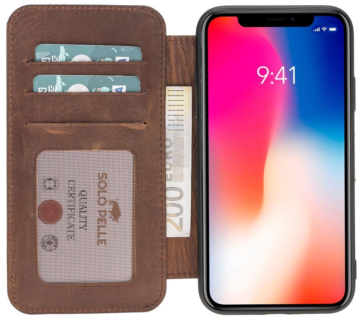 iPhone XS Max Walletcase in Vintage Braun