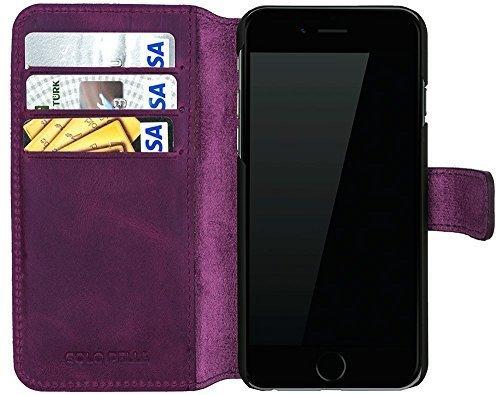 iphone 6/6S Hülle - Kartenfächer - Vintage Lila aus Leder