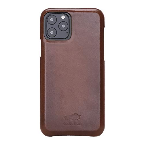 Lederhülle für das iPhone 11 Pro in 5.8 Zoll Stanford Case Leder Hülle Ledertasche Backcover Princeton (Vollleder Cognac Braun Burned)