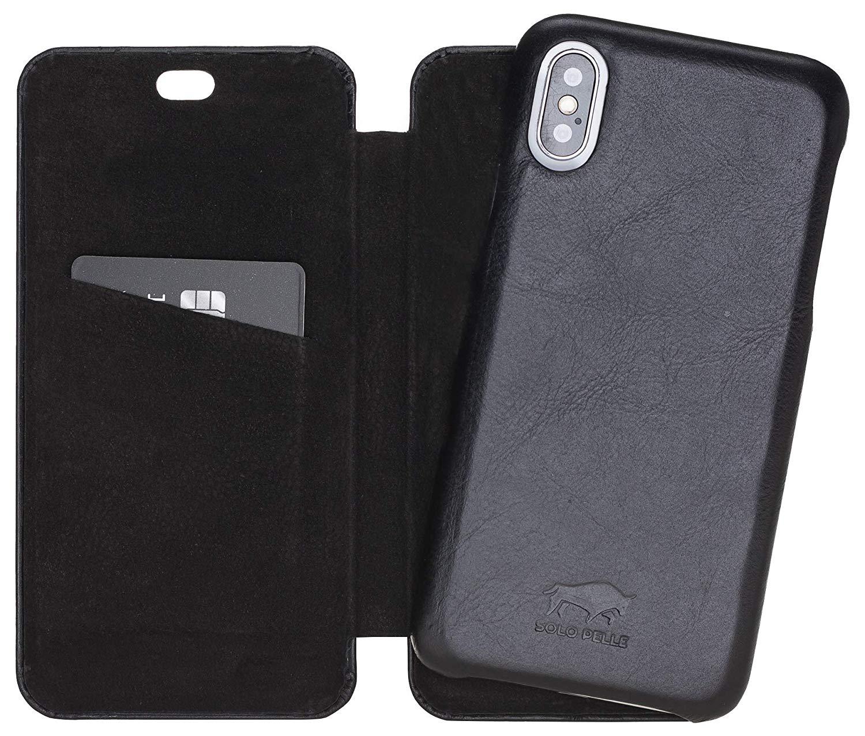Solo Pelle Lederhülle passend zu iPhone X/XS abnehmbare Hülle (2in1) inkl. Kartenfächer für das original iPhone X/XS (F360 Elite Schwarz)