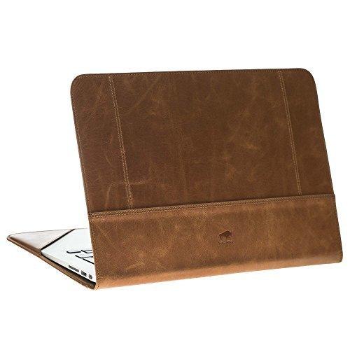 """MacBook 12 Zoll """"Münich"""" Tasche aus echtem Leder (Cognac Braun)"""