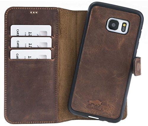 Samsung S7 Edge abnehmbare Lederhülle (2in1) in Vintage Braun