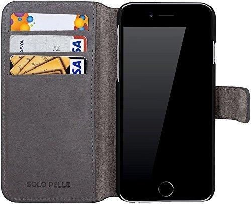 """iPhone 6 Plus / 6S Plus Hülle - """"Wallet"""" - Light Grau aus Leder"""