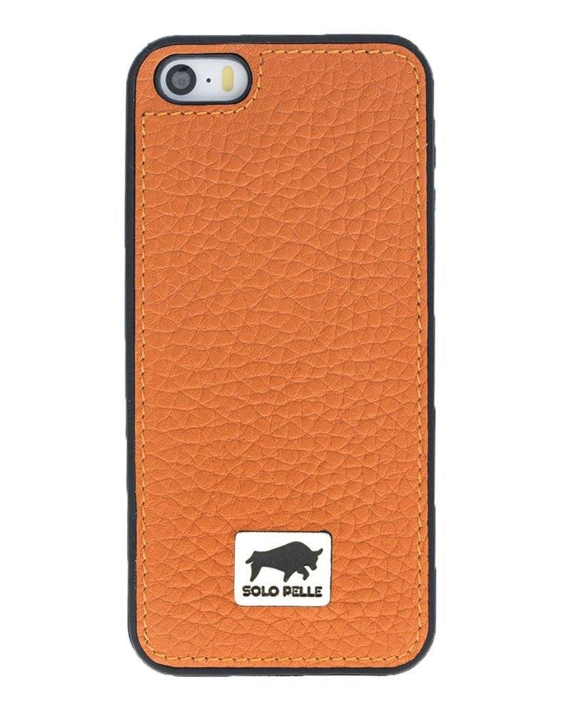 "iPhone SE / 5 / 5S Hülle - ""STANFORD"" Hülle - Floater Orange aus Leder"