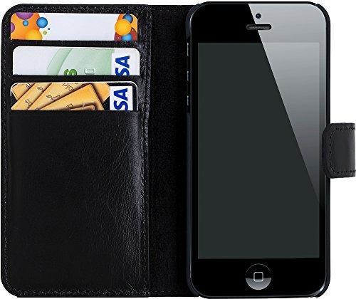 iphone se 5 5s h lle wallet schwarz aus leder. Black Bedroom Furniture Sets. Home Design Ideas