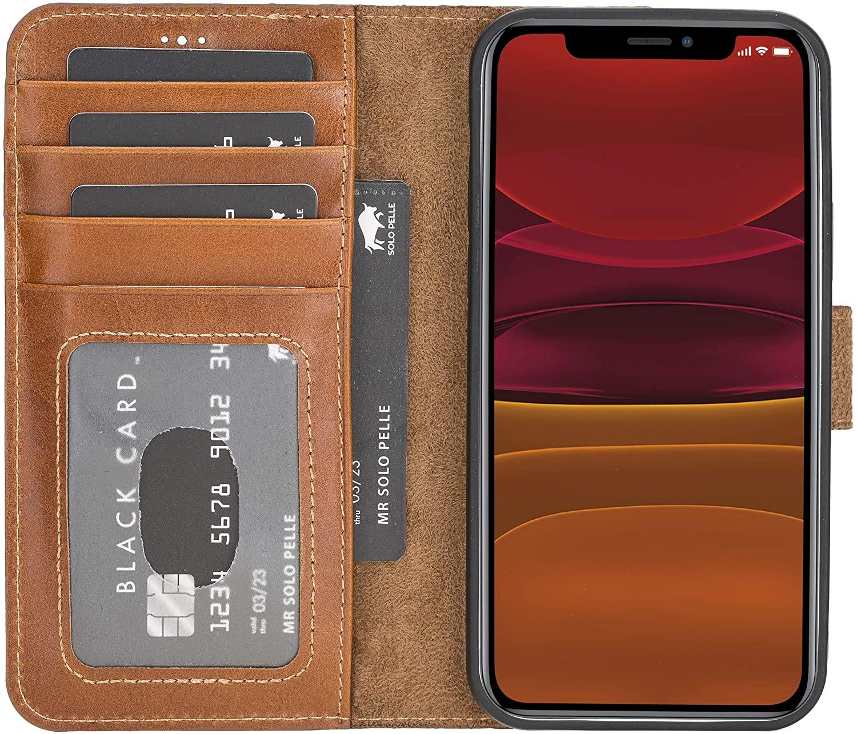 "iPhone 12 | 12 Pro abnehmbare Lederhülle ""Harvard"" MagSafe kompatibel (Cognac Braun)"