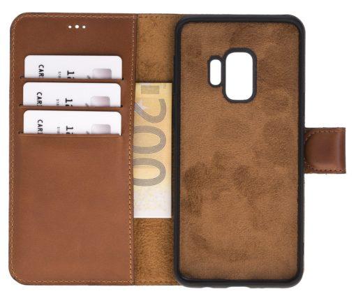 Samsung Galaxy S9 abnehmbare Lederhülle inkl. Kartenfächer in Cognac Braun