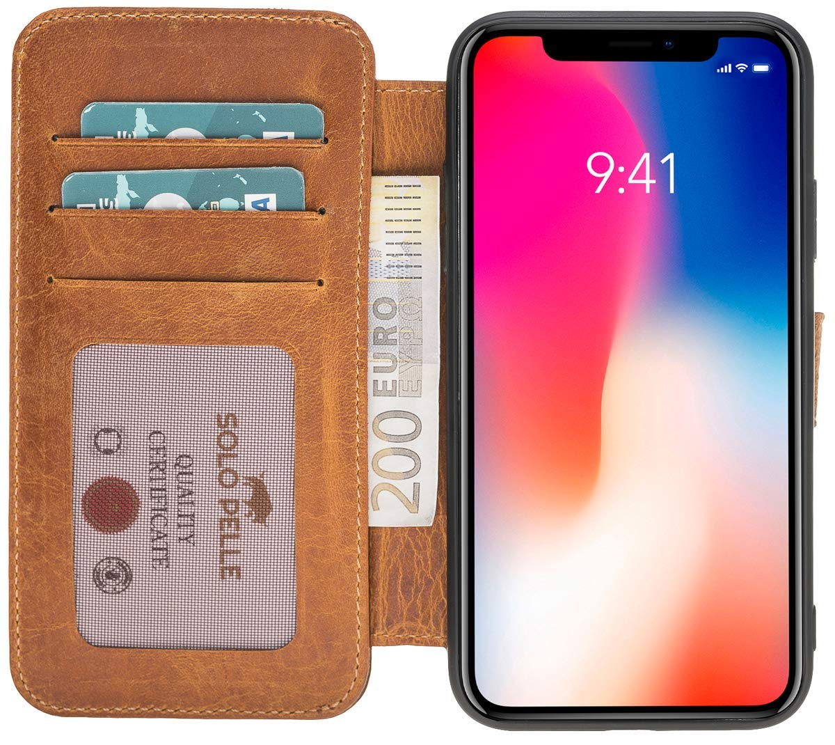 iPhone XR Walletcase in Camel Braun