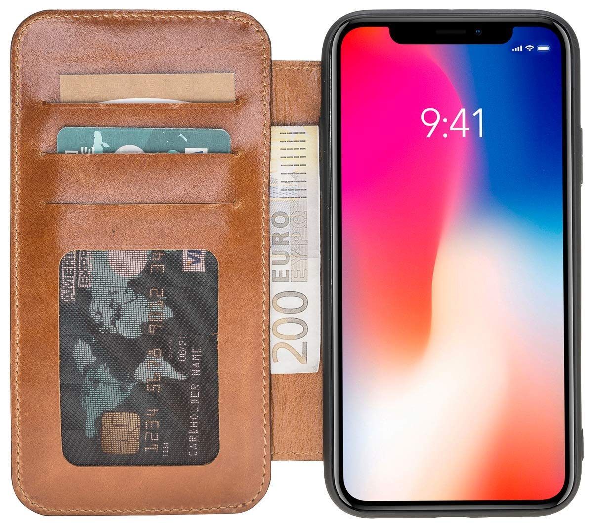 iPhone XR Walletcase in Cognac Braun Burned
