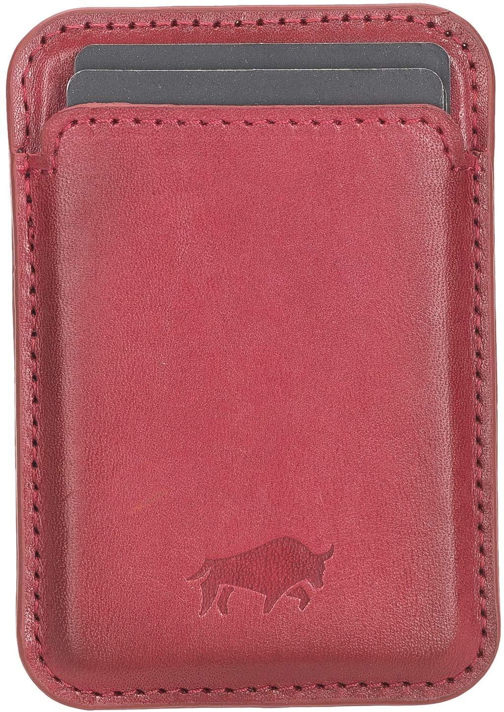 Magnetische Geldbörse (Magsafe) Für verschiedene Lederhüllen von Solo Pelle kompatibel kompatibe (Rot)