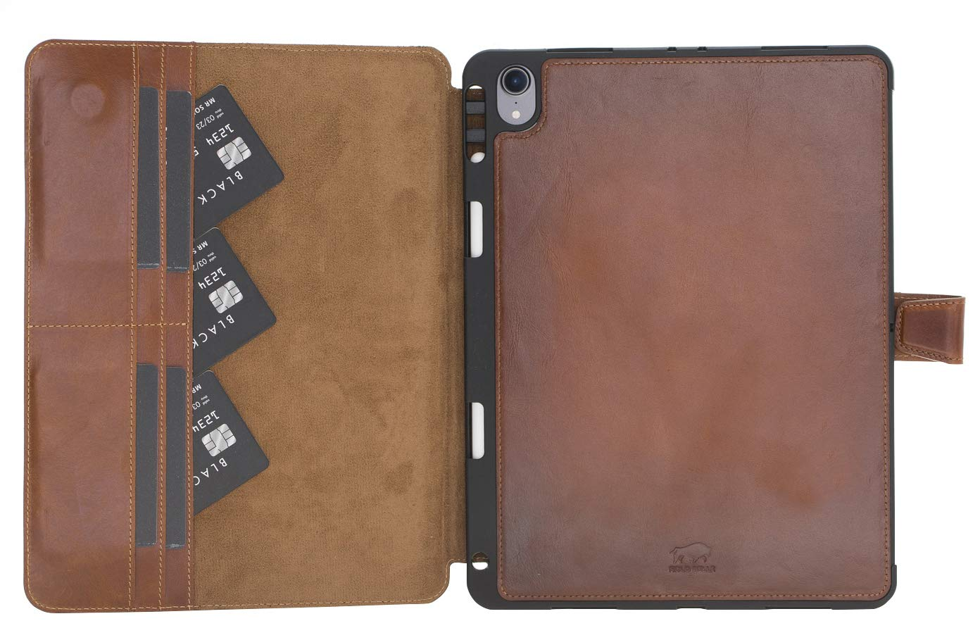Solo Pelle magnetische abnehmbare Hülle Harvard geeignet für Apple iPad Pro 11 Zoll 2018 Hülle Leder Case aus echtem Leder. Unterstützt Pencil 2 und magnetisches Laden. (Cognac Braun Burned)