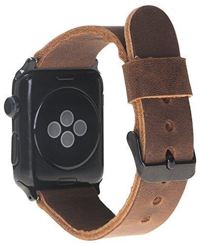 Armband aus echtem Leder für die Apple Watch Series 1 - 4 Leder Lederarmband (42mm/44mm Vintage Braun/Schwarze Connector) ohne Naht Handmade