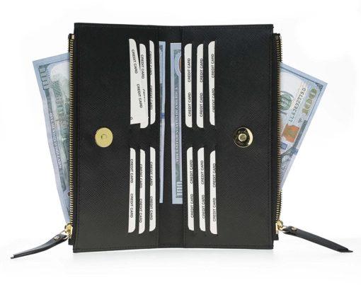 Leder Geldbörse Saff Palermo XL in Schwarz