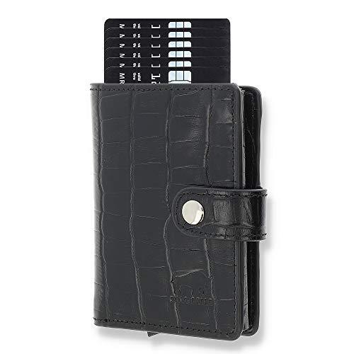 Solo Pelle Leder Geldbörse Q-Wallet mit integriertem Kartenetui für 15 Karten + Geldscheine geeignet   Kreditkartenetui mit RFID (Kroko Schwarz + Kleingeldfach)