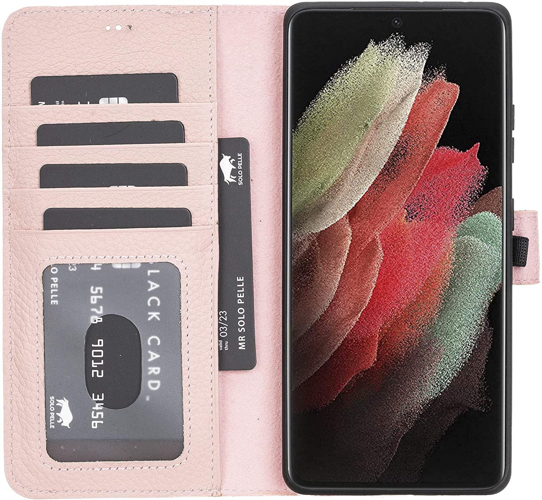 Solo Pelle Lederhülle Harvard kompatibel für das Samsung Galaxy S21 Ultra 5G in 7.1 Zoll inklusive abnehmbare Hülle mit integrierten Kartenfächern (Nude Rosa)