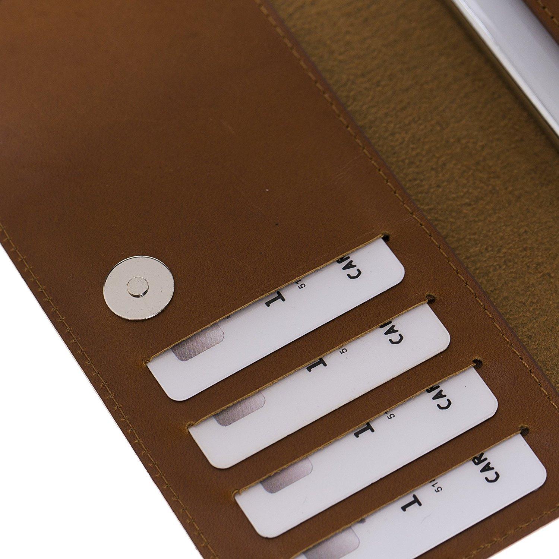Universal Lederhülle passend für das iPhone XS Max / 8 Plus und Geräte ähnlicher Grösse aus echtem Leder in Cognac Braun