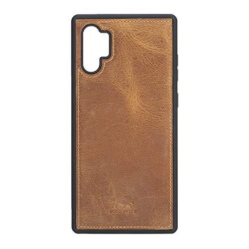 Solo Pelle Lederhülle für das Samsung Galaxy Note 10 Plus/Note 10+ 5G Hülle, Schutzhülle aus echtem Leder, Model: Stanford (Camel Braun)