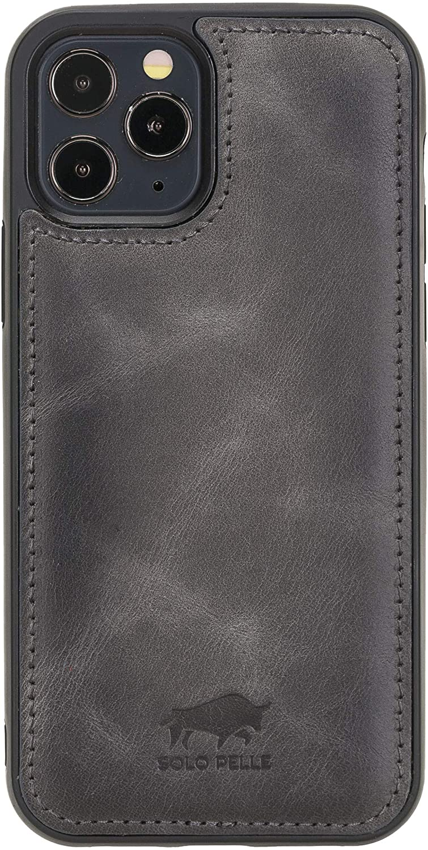 Solo Pelle Lederhülle für das iPhone 12 / 12 Max in 6.1 Zoll Stanford Case Leder Hülle Ledertasche Backcover aus echtem Leder (Steingrau)