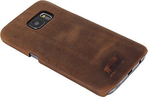 "Samsung S7 Edge ""Yale"" Leder Hülle Tasche Lederhülle Ledertasche Backcover in Vintage Braun"