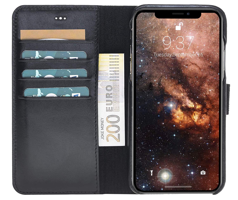"""iPhone XR 6.1 Zoll Abnehmbare Lederhülle """"Clemson"""" in Schwarz"""