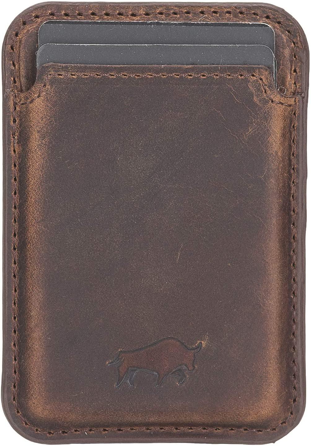 Magnetische Geldbörse (Magsafe) Für verschiedene Lederhüllen von Solo Pelle kompatibel kompatibe  (Vintage Braun)