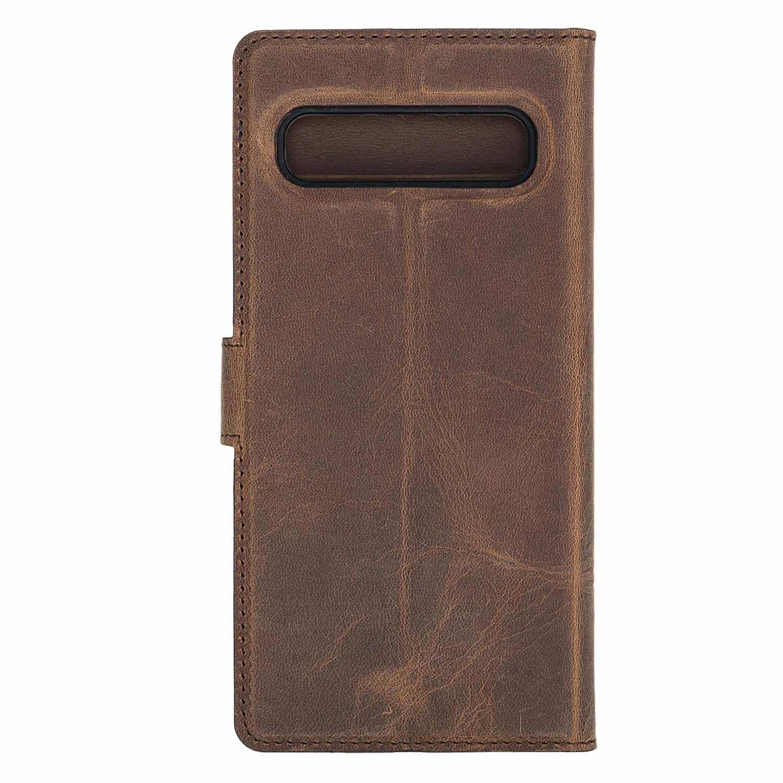 Solo Pelle Lederhülle Harvard kompatibel für das Samsung Galaxy S10 5G inklusive abnehmbare Hülle mit integrierten Kartenfächern (Vintage Braun)