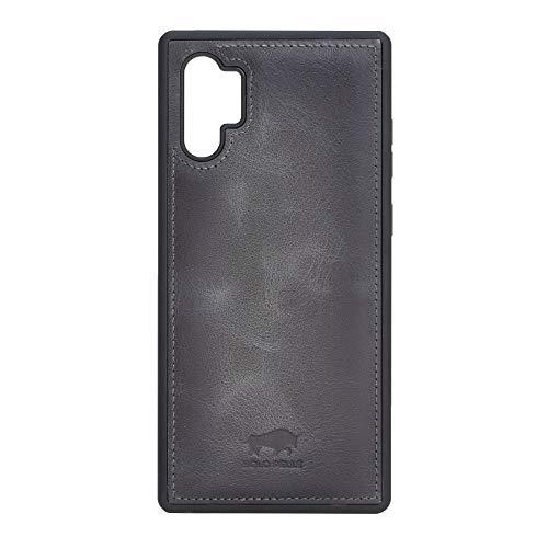 Solo Pelle Lederhülle für das Samsung Galaxy Note 10 Plus/Note 10+ 5G Hülle, Schutzhülle aus echtem Leder, Model: Stanford (Steingrau Burned)