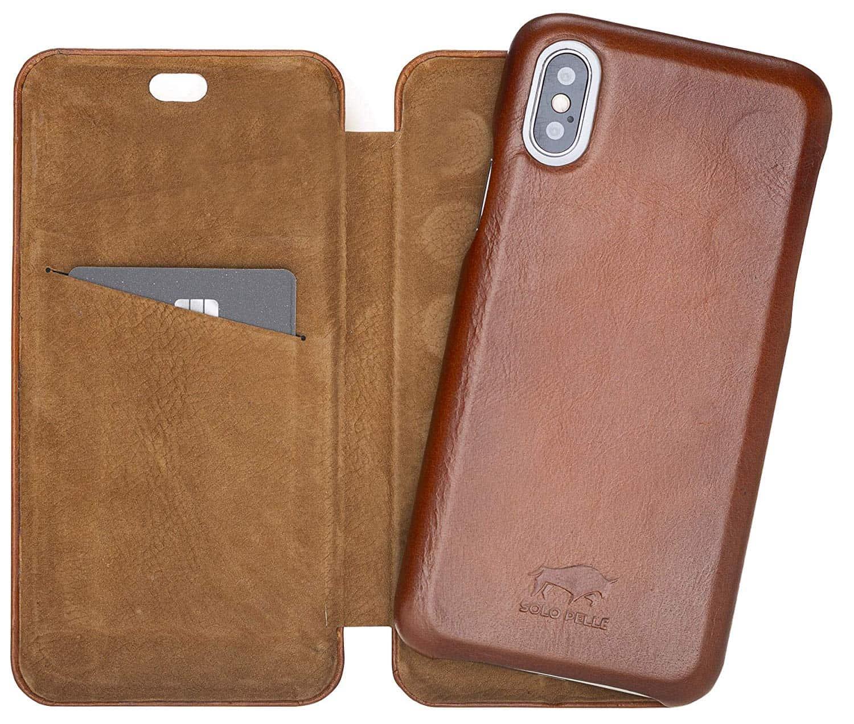 Solo Pelle Lederhülle passend zu iPhone X/XS abnehmbare Hülle (2in1) inkl. Kartenfächer für das original iPhone X/XS (F360 Elite Cognac Braun Effekt)
