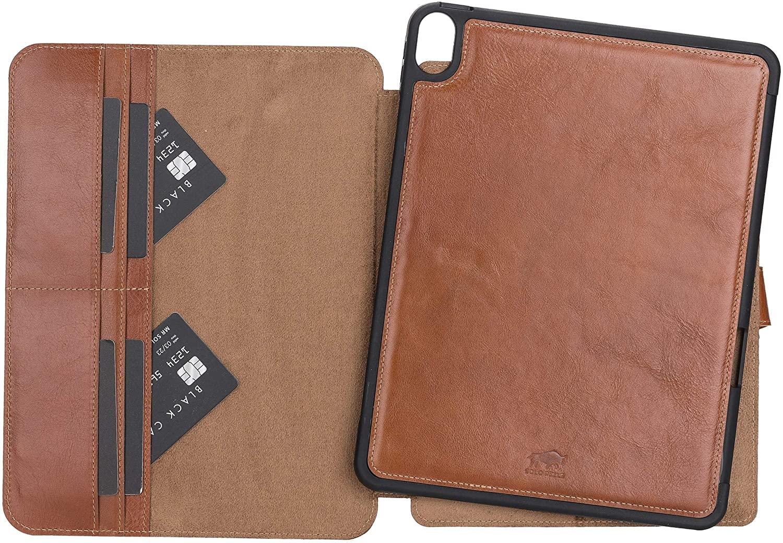 Solo Pelle magnetische abnehmbare Hülle geeignet für Apple iPad Air 5 in 10.9 (4 + 5 Generation) Hülle Echtleder Case aus echtem Leder. Unterstützt Pencil und magnetisches Laden (Cognac Braun Burned)