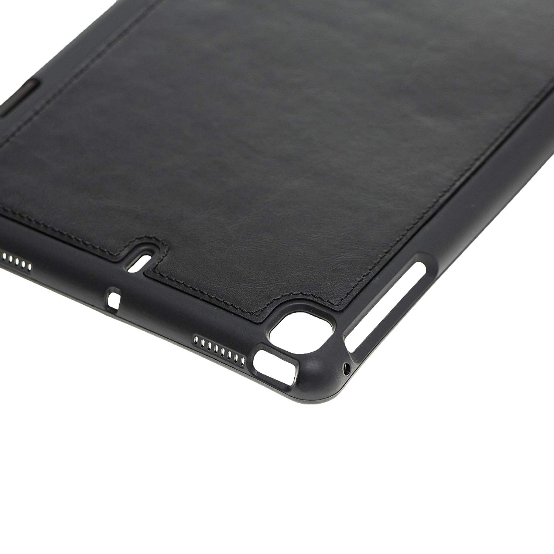 Solo Pelle magnetische abnehmbare Lederhülle Harvard geeignet für Apple iPad Mini 5 (2019) & 4 Hülle Echtleder Case aus echtem Leder mit Stand und Auto Schlaf/Aufwachen Funktion. Dünnes Cover Schutzhülle (Schwarz)