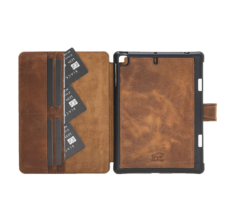 Solo Pelle magnetische abnehmbare Lederhülle Harvard geeignet für Apple iPad Mini 5 (2019) & 4 Hülle Echtleder Case aus echtem Leder mit Stand und Auto Schlaf/Aufwachen Funktion. Dünnes Cover Schutzhülle (Vintage Braun)