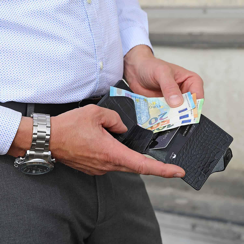 """Slim Wallet """"Mondo"""" ohne Münzfach [bis zu 13 Karten] + [RFID-Schutz] in (Kroko Schwarz)"""