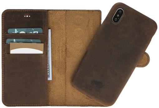 iPhone X / XS Hülle - Abnehmbar (Ultra 2in1) - Vintage Braun aus Leder